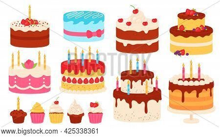 Birthday Cakes. Chocolate And Pink Cake With Cream Icing And Candles. Cartoon Sweet Cupcakes For Par