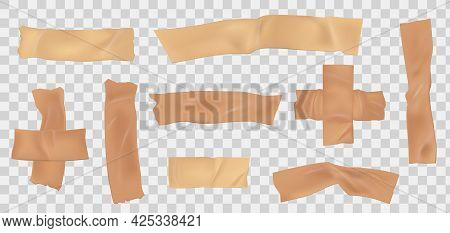 Paper Adhesive Tape. Masking Scotch Pieces With Torn Edge. Realistic Beige Sticky Paper Stripe. Ripp