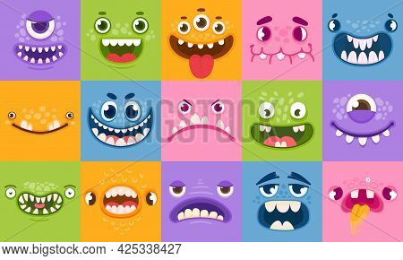 Monster Faces. Funny Cartoon Monsters Heads, Eyes And Mouths. Scary Characters For Kids. Halloween M