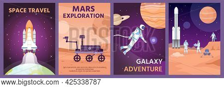 Space Exploring Poster. Galaxy Landscape With Rocket, Planets And Astronaut. Mars Rover On Planet Su