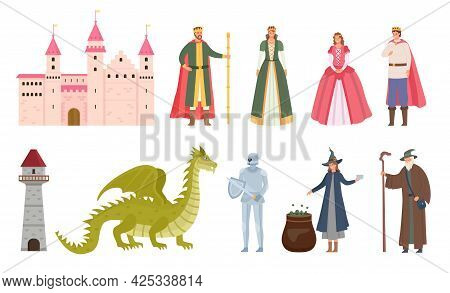 Fairytale Characters. Cartoon Medieval Prince And Princess, Dragon, Knight, Witch And Wizard. Magic