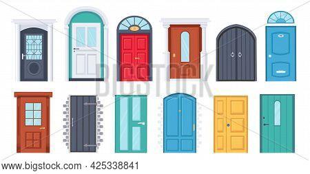 Front Doors. Cartoon Vintage House Wooden Doorway. Door With Glass Window. Home Entrances With Frame