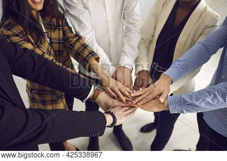 Diverse Business Worker Group Freelance Male And Female Hands Together
