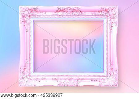 Vintage photo frame wall mockup