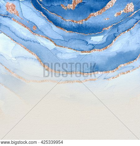 Shimmering blue paint textured background
