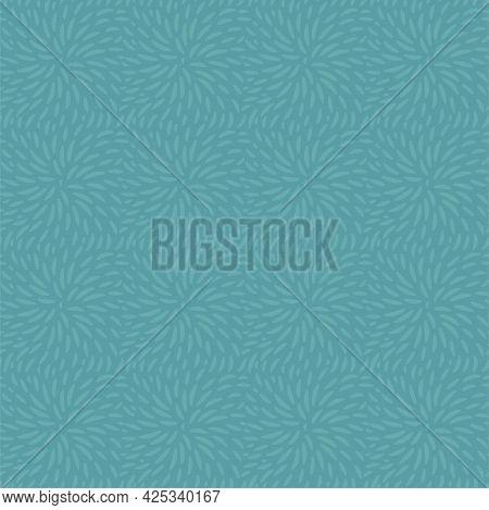 Dusty Blue-green Hand Drawn Brush Stroke Seamless Pattern. Abstract Dandelion Petal. Vector Illustra