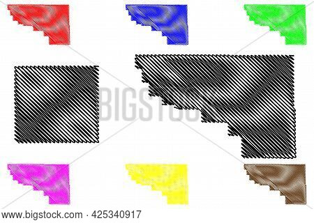 Weston And Washakie County, State Of Wyoming (u.s. County, United States Of America, Us) Map Vector