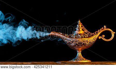 Antique Oriental Aladdin Arabian lamp with Soft Light Smoke.
