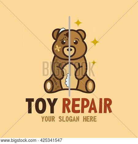 Toy Repair Shop Vector Isolated Logo. Concept Of Fix Antique Old Plush Toys. Before And After Toys R