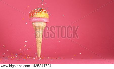 Super slow motion of tasty ice cream in cone.