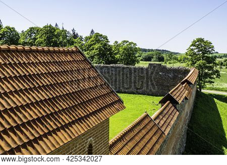 Medieval Castle Roof And Castle Fortification Wall. Medininkai Castle, Lithuania