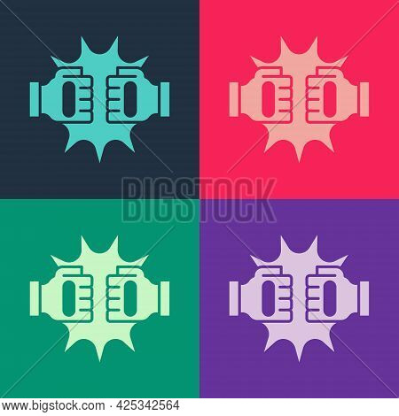 Pop Art Punch In Boxing Gloves Icon Isolated On Color Background. Boxing Gloves Hitting Together Wit