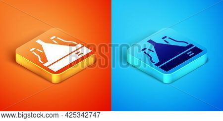 Isometric Pack Of Beer Bottles Icon Isolated On Orange And Blue Background. Case Crate Beer Box Sign