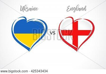 Ukraine Vs England, Flag Emblems. National Team Soccer Icons On Blue Background. Ukrainian And Engli