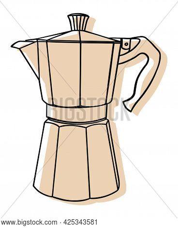 Italian Coffee Maker Or Moka Pot, Espresso Machine, Mocha Express. Hand Drawn Vector Illustration Is