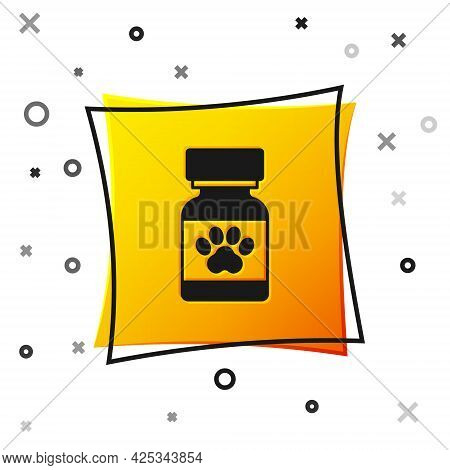 Black Medicine Bottle And Pills Icon Isolated On White Background. Container With Pills. Prescriptio