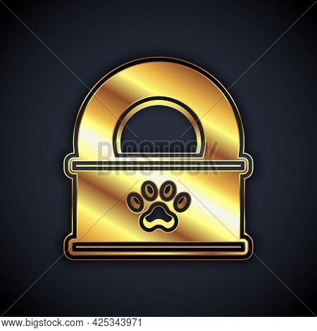 Gold Canned Food Icon Isolated On Black Background. Food For Animals. Pet Food Can. Vector