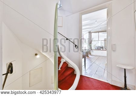 Designed In A Minimalistic Style Staircase Hall. Interior Of Luxury House Stairs