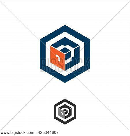 Abstract And Simple Hexagon Tech Vector Design. Flat Vector Symbol Design Illustration. Vector Illus