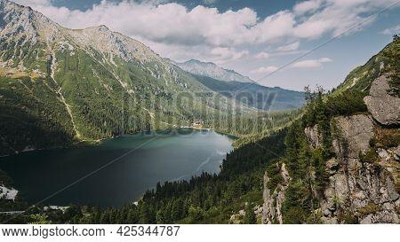 Tatra National Park, Poland. Famous Mountains Lake Morskie Oko Or Sea Eye Lake In Summer Day. Topw V