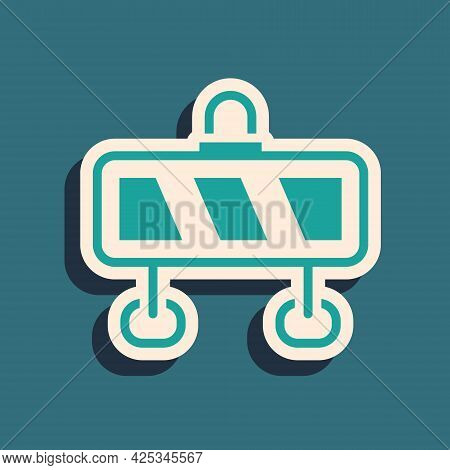Green Road Barrier Icon Isolated On Green Background. Symbol Of Restricted Area Which Are In Under C
