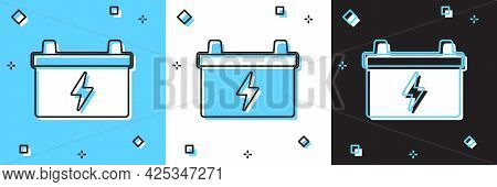 Set Car Battery Icon Isolated On Blue And White, Black Background. Accumulator Battery Energy Power