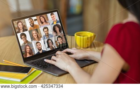 Online Tutoring. Unrecognizable Female Teacher Starting Video Conference With Group Of Students