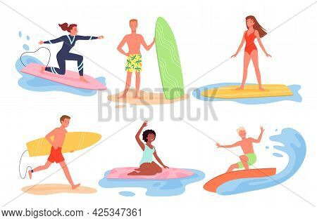 Cartoon Young Man Woman Characters In Bikini Surfing On Surfboards, Float On Ocean Wave, Summertime