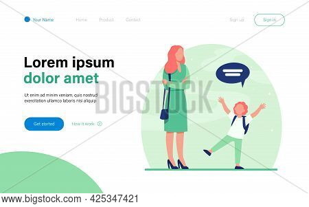 Mom With Folded Hands Listening Kid. Child, Speech Bubble, Conversation Flat Vector Illustration. Co