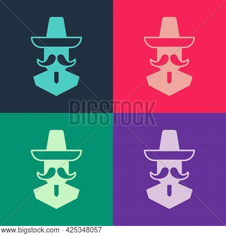 Pop Art Mexican Man Wearing Sombrero Icon Isolated On Color Background. Hispanic Man With A Mustache