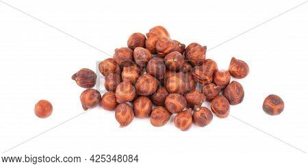 Pile Of Brown Chickpeas, Isolated On White Background. Brown Chickpea. Garbanzo, Bengal Gram Or Chic