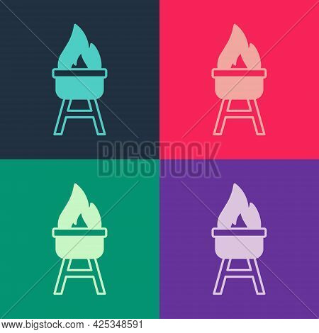 Pop Art Barbecue Grill Icon Isolated On Color Background. Bbq Grill Party. Vector