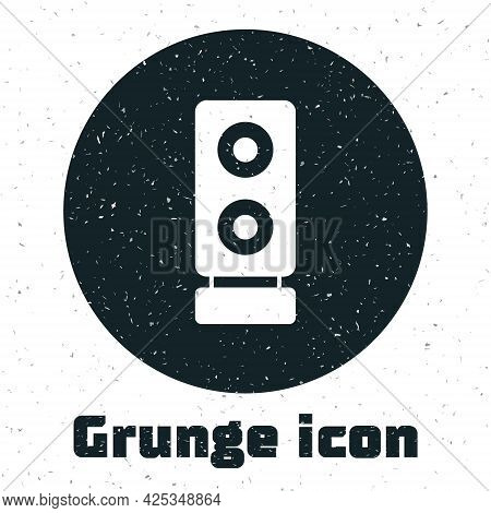 Grunge Stereo Speaker Icon Isolated On White Background. Sound System Speakers. Music Icon. Musical