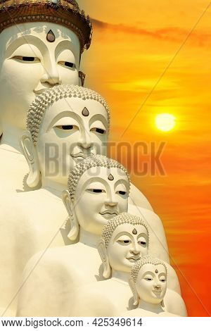 Perspective Line From Religious Buddhism In Thailand. Five Buddha Statues, Temple Relics Cliff Hide