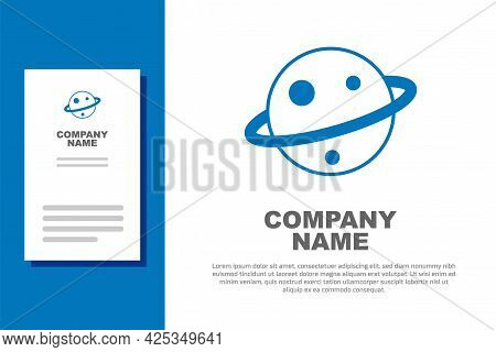 Blue Planet Saturn With Planetary Ring System Icon Isolated On White Background. Logo Design Templat