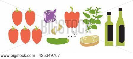 Fresh Raw Gazpacho Ingredients. Horizontal Vector Illustration Isolated On White.