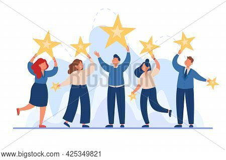 Business Team Holding Stars In Hands Flat Vector Illustration. Happy Adults Satisfying With Service