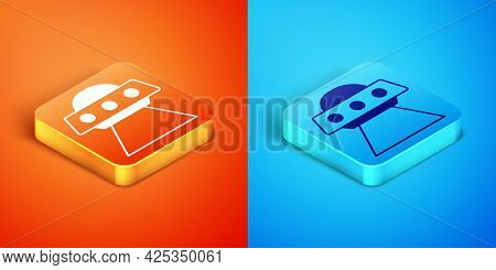 Isometric Ufo Flying Spaceship Icon Isolated On Orange And Blue Background. Flying Saucer. Alien Spa