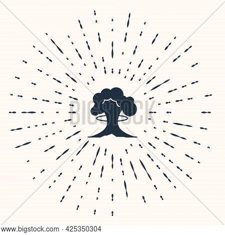 Grey Nuclear Explosion Icon Isolated On Beige Background. Atomic Bomb. Symbol Of Nuclear War, End Of