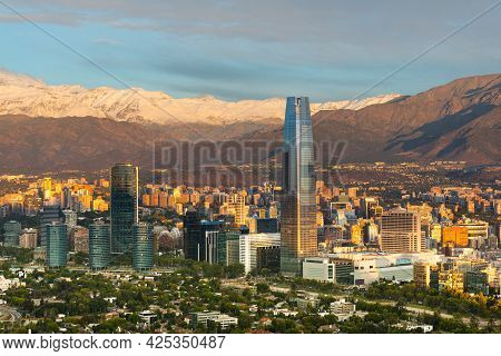 Skyline Of Santiago De Chile At The Foots Of The Andes Mountain Range And Buildings At Providencia D