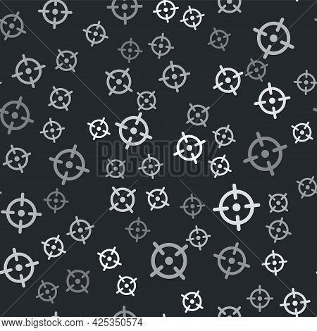 Grey Target Sport Icon Isolated Seamless Pattern On Black Background. Clean Target With Numbers For