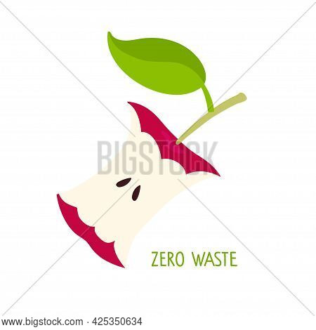 Zero Waste Ecology Template. One Red Apple Eaten To Core Isolated On White Background. Illustration