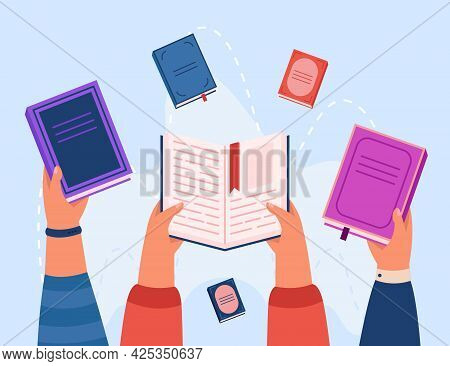 Top View Of Hands Holding Books Flat Vector Illustration. School Kids Reading Literature, Gaining Kn