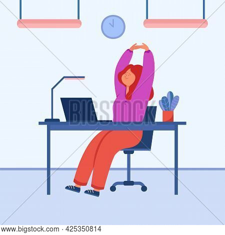 Happy Employee Stretching While Sitting At Office Desk. Calm Cartoon Character Resting From Work On