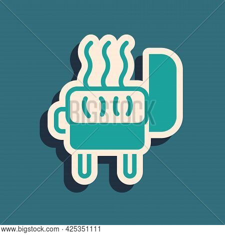 Green Barbecue Grill Icon Isolated On Green Background. Bbq Grill Party. Long Shadow Style. Vector