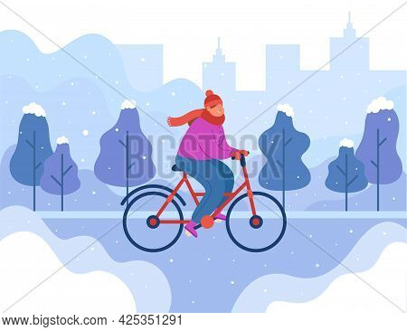 Happy Girl Riding Bike In Winter. Woman On Bicycle Outside In Cold Weather, Silhouette Of City Flat