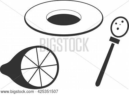 Vector Icon Of A Saucer, Lemon, And Sugar Spoon.