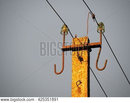 Concrete Electric Pole With Wires. Environmental Infrastructure. Renewable Energy. Electricity Tarif