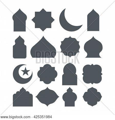 Set Of Islamic Shape Illustration Design, Blank Islamic Shape Template Vector