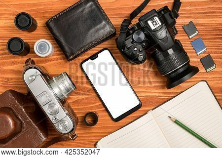 Journalistic Equipment - Notebook, Phone, Camera, Lens, Wallet And Different Objects. Vintage And Mo
